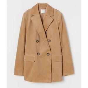 H&M beige tan corduroy blazer